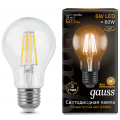 Лампа Gauss LED Filament A60 E27 6W 2700К, 102802106, 296.00 руб., Лампа Gauss LED Filament A60 E27 6W 2700К, Gauss, Лампа Gauss LED Filament