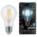 Лампа Gauss LED Filament A60 E27 6W 4100К, 102802206, 142.90 руб., Лампа Gauss LED Filament A60 E27 6W 4100К, Gauss, Лампа Gauss LED Filament