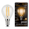 Лампа Gauss LED Filament Globe E14 5W 2700K, 105801105, 197.00 руб., Лампа Gauss LED Filament Globe E14 5W 2700K, Gauss, Лампа Gauss LED Filament