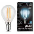 Лампа Gauss LED Filament Globe E14 5W 4100K, 105801205, 133.90 руб., Лампа Gauss LED Filament Globe E14 5W 4100K, Gauss, Лампа Gauss LED Filament