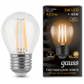 Лампа Gauss LED Filament Globe E27 5W 2700K, 105802105, 133.90 руб., Лампа Gauss LED Filament Globe E27 5W 2700K, Gauss, Лампа Gauss LED Filament