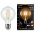 Лампа Gauss LED Filament G95 E27 6W 2700K, 105802106, 421.00 руб., Лампа Gauss LED Filament G95 E27 6W 2700K, Gauss, Лампа Gauss LED Filament